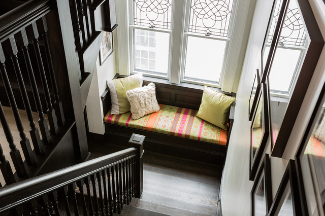 Wood Balusters Staircase Contemporary with Bright Accents Built in Seat Built in Window Seat Cambridge Dark