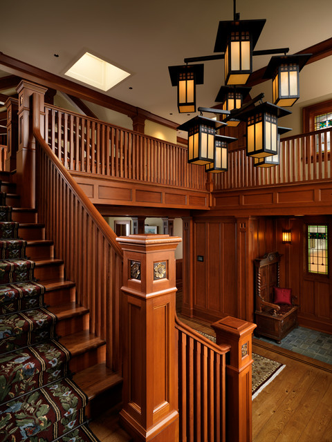 Wood Balusters Staircase Craftsman with Arts and Crafts Carved Newel Post Foyer Oak Bay