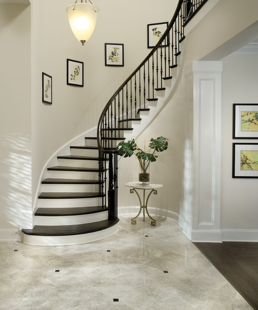 Wood Balusters Staircase Traditional with Bullnose Capped Baseboard Closed Staircase Curved Staircase Dark Wood