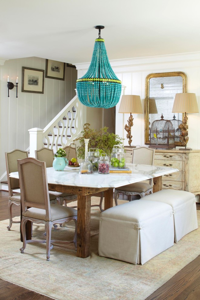 Wood Bead Chandelier Dining Room Traditional with Area Rug Beads Chandelier Crown Molding Distressed