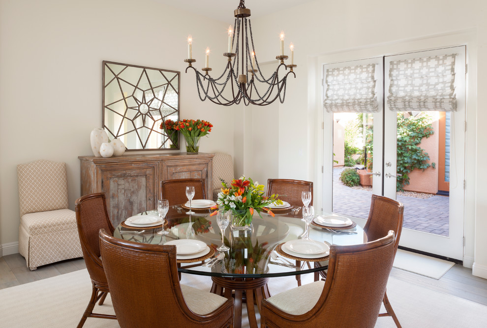 Wood Bead Chandelier Dining Room Traditional with French Doors Glass Doors Glass Top Dining
