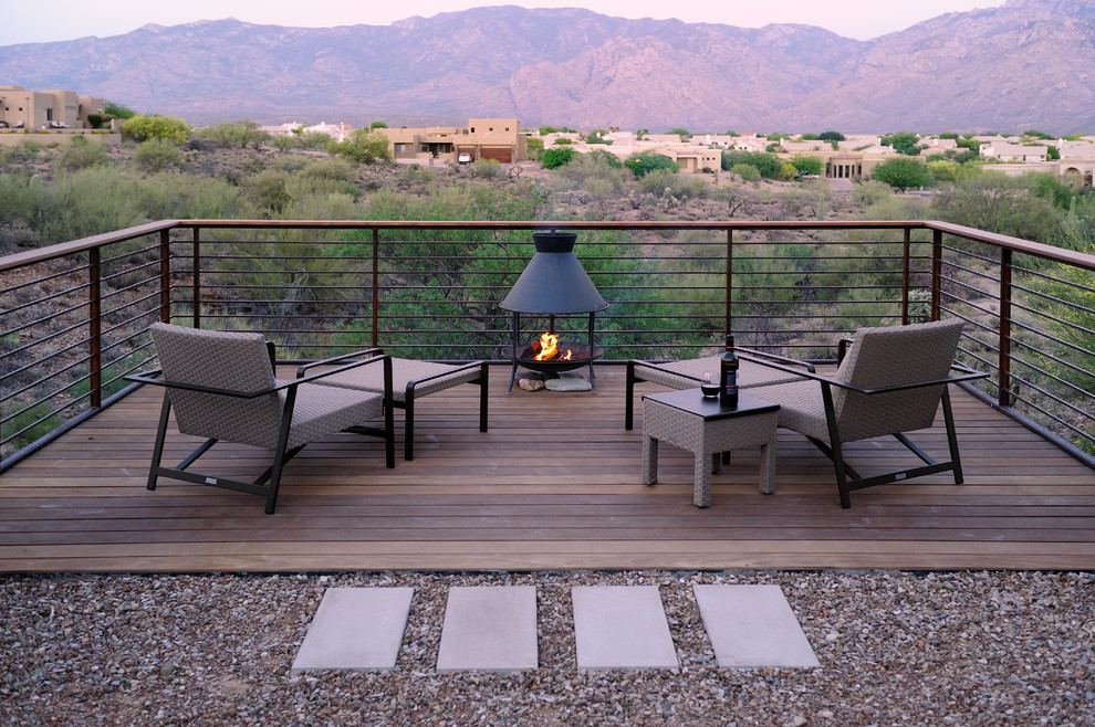 wood burning fire pit Deck Contemporary with Brown Jordan furniture cantilevered deck Concrete Pathway