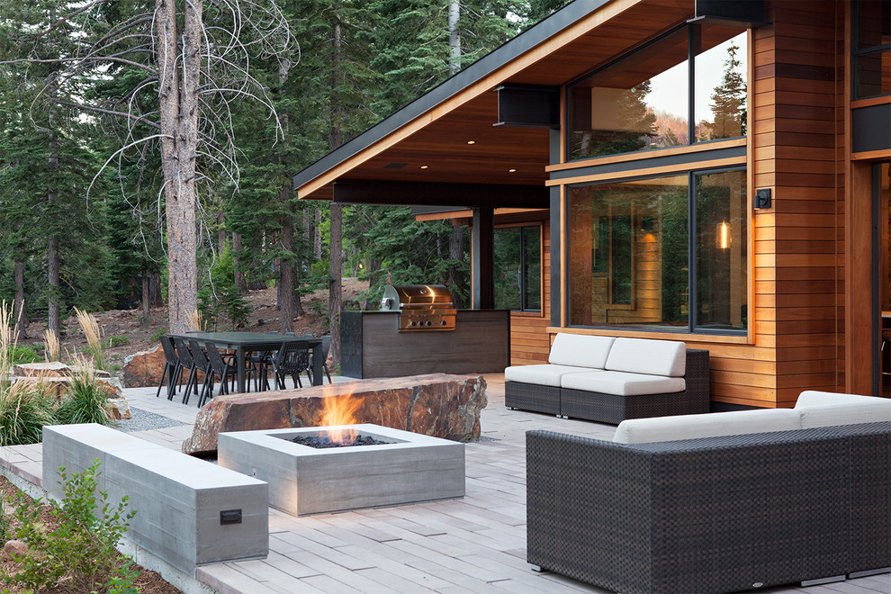 Wood Burning Fire Pit Patio Contemporary with Beige Outdoor Cushions Boulder Bench Concrete Bench