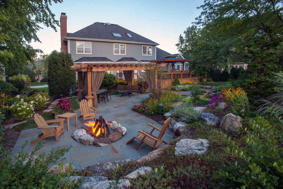Wood Burning Fire Pit Patio Traditional with Adirondack Chairs Bluestone Boulders Deck Firepit Outdoor