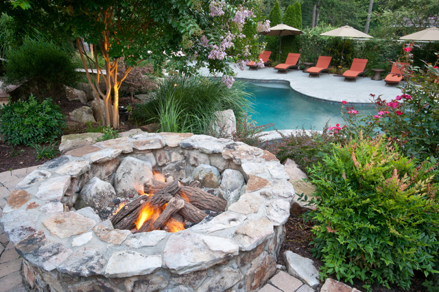 Wood Burning Fire Pits Landscape Traditional with Backyard Brick Patio Chaise Lounge Outdoor Cushions Patio Furniture