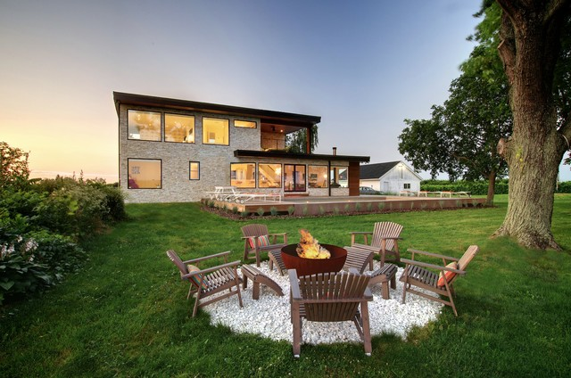 Wood Burning Fire Pits Patio Contemporary with Adirondack Chair Firepit Freestanding Firepit Grass Lawn Oversized Window