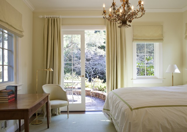 Wood Curtain Rods Bedroom Traditional with Bedroom Desk Chandelier Crown Molding Curtain Poles Curtains Drapes