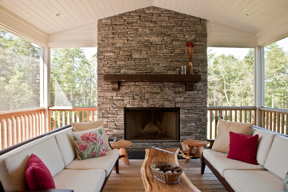 Wood Fireplace Mantels Deck Transitional with Floral Pillow Metal Fireplace Screen Outdoor Living