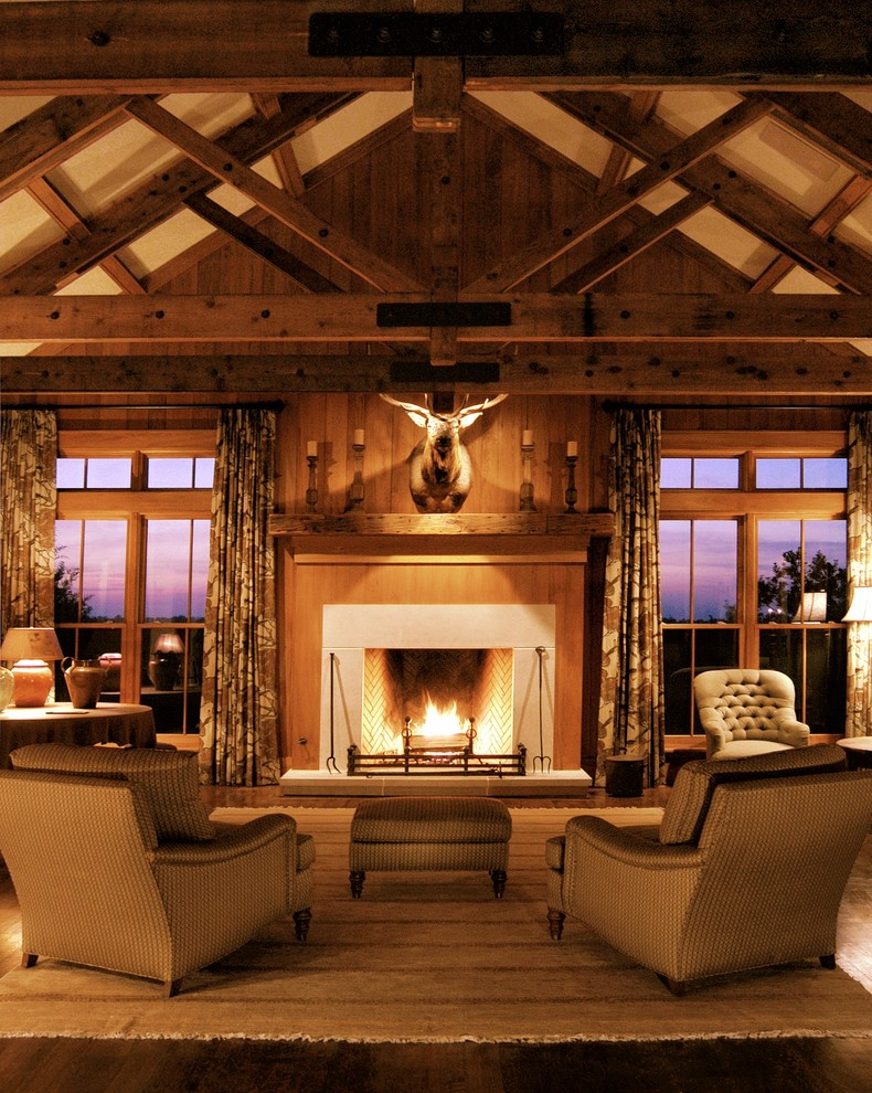 Wood Fireplace Mantels Living Room Farmhouse with Animal Bust Animal Head Beige Armchair Beige