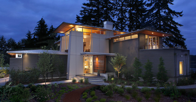 Wood Lap Siding Exterior Contemporary with Accent Lighting Balcony Horizontal Windows Landscape Large Windows Metal