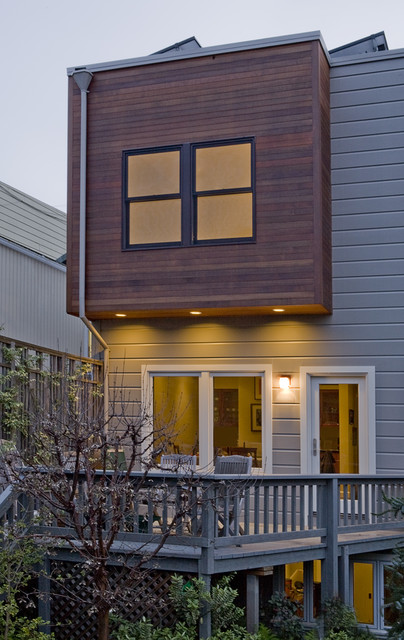 Wood Lap Siding Exterior Contemporary with Balustrade Ceiling Lighting Deck Flat Roof Glass Door Grey