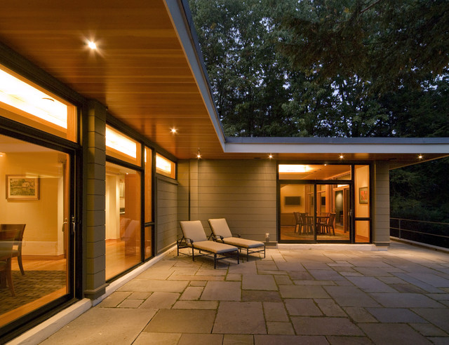 wood lap siding Exterior Contemporary with chaise lounge flat roof glass doors outdoor lighting overhang