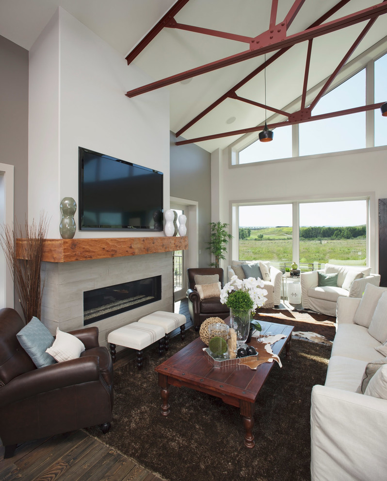 wood mantels Living Room Contemporary with building a custom home Clerestory Custom home