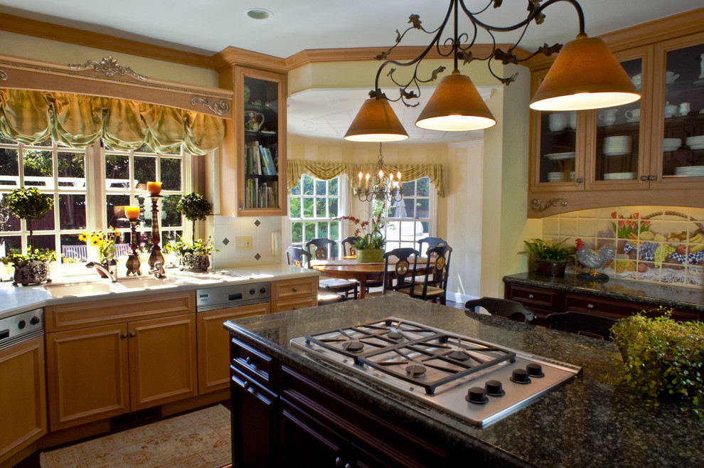 Wood Valance Kitchen Traditional with Accent Tiles Breakfast Nook Chandelier Crown Molding1