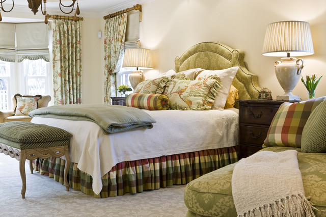 wooden curtain rods Bedroom Traditional with arm chair bedskirt bench brown ceramic lamps chandelier cream