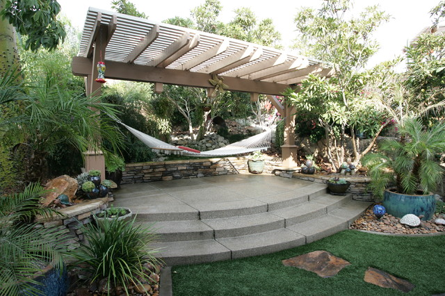 Wooden Hammock Stand Patio Tropical with Backyard Retreat Curved Steps Garden Decor Hammock Patio Cover