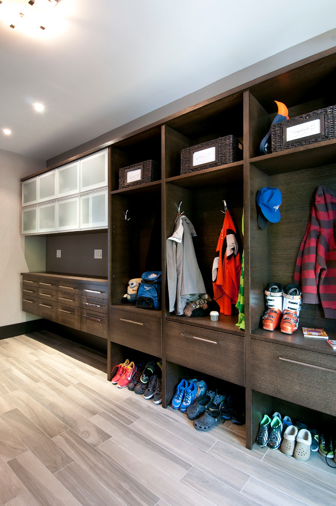 Wooden Lockers Entry Contemporary with Bar Pulls Coat Hooks Dark Stained Wood
