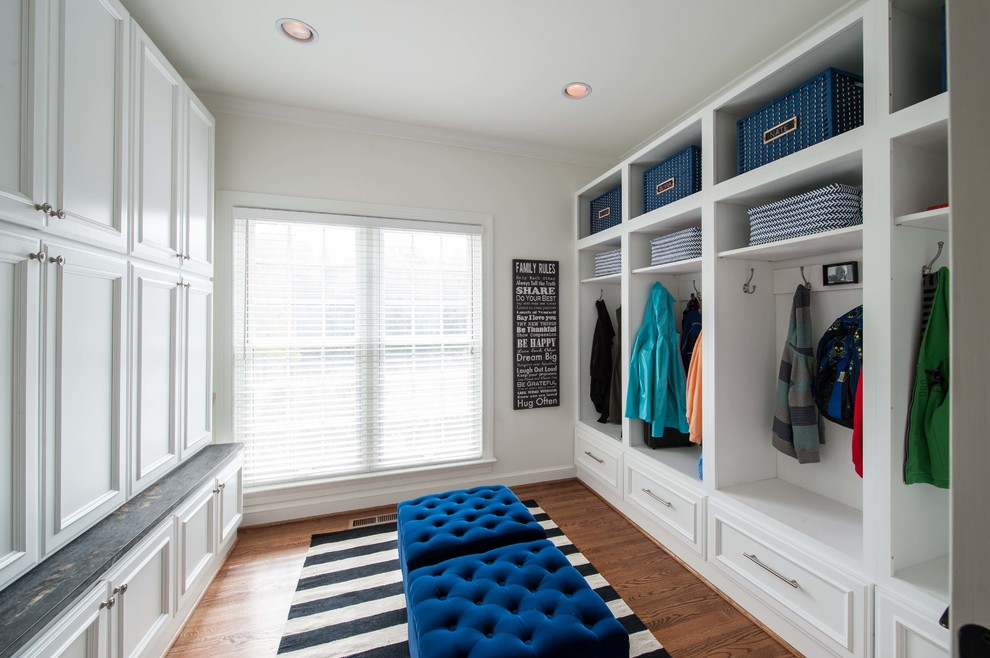 Wooden Lockers Entry Traditional with Basket Storage Black and White Rug Blue