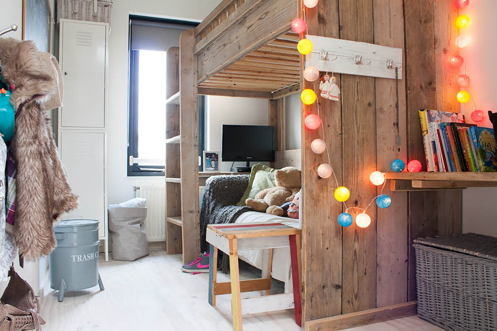 Wooden Lockers Kids Eclectic with Bunk Bed Colorful Lights Kids Books Laundry