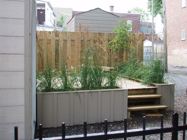 Wooden Planter Boxes Landscape Contemporary with Board and Batten Deck Gravel Iron Railing Steps Tall