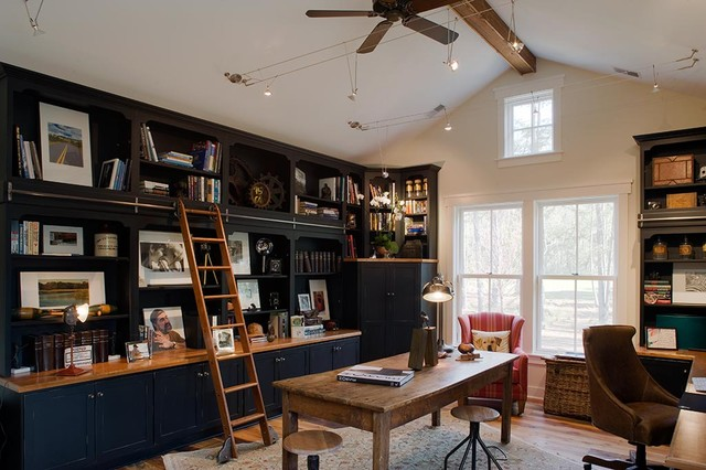 Wooden Step Ladder Home Office Rustic with Area Rug Bookcase Bookshelves Built in Shelves Ceiling Fan