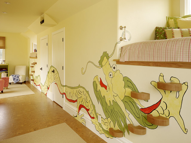 Wooden Step Ladder Kids Eclectic with Accent Pillows Dragon Mural Dragon Wall Design Girls Bedding