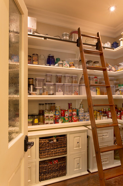 Wooden Step Ladder Kitchen Traditional with Basket Storage Canisters Crown Molding Jars Ladder Open Shelving