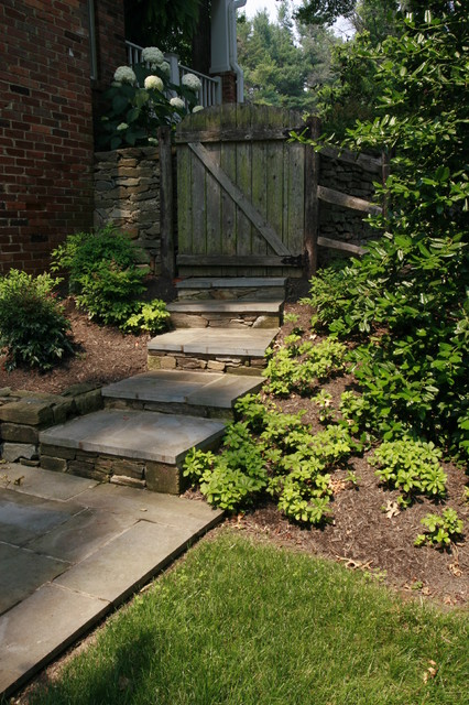 Wooden Step Ladder Landscape Eclectic with Backyard Rustic Fence Stone Pathway Stone Steps Stone Walkway