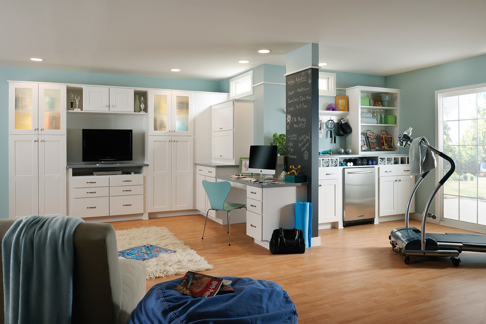 Woodmark Cabinets Basement Traditional with Beanbag Chalkboard Paint Exercise Equipment Family Room1