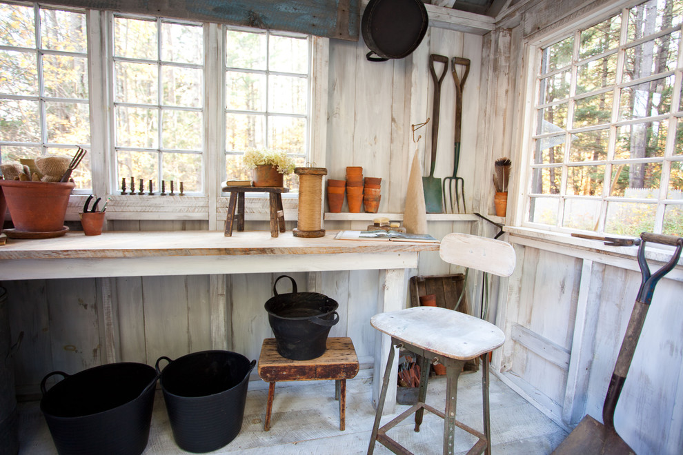 Workbench Ideas Garage and Shed Farmhouse with Ceiling Beams Exposed Wood Beams Side Tables