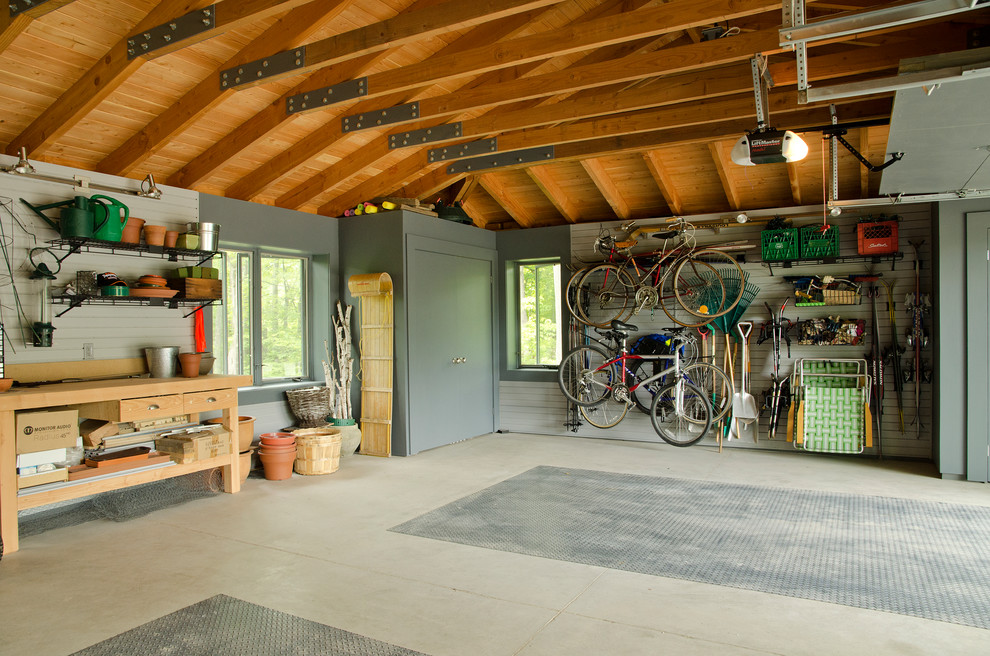 Workbench Ideas Garage and Shed Traditional with Bike Storage Fir Rafters Floor Mats Garage
