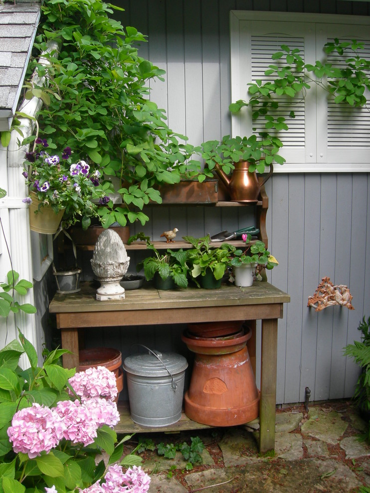 Workbench Ideas Landscape Traditional with Acorn Finial Copper Watering Can Flagstone Gray
