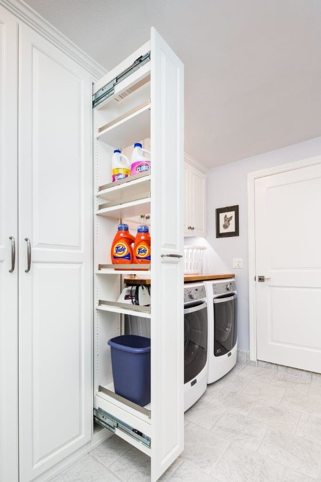 Workbench Ideas Laundry Room Traditional with Full Height Cabinets Pullout Storage White Floor