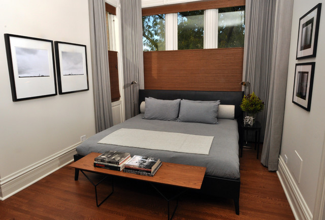 woven wood shades Bedroom Contemporary with alcove baseboards bedside table curtains drapes foot of the