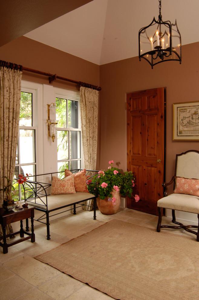 Wrought Iron Bench Entry Traditional with Curtains Drapes Foyer Lantern Neutral Colors Potted