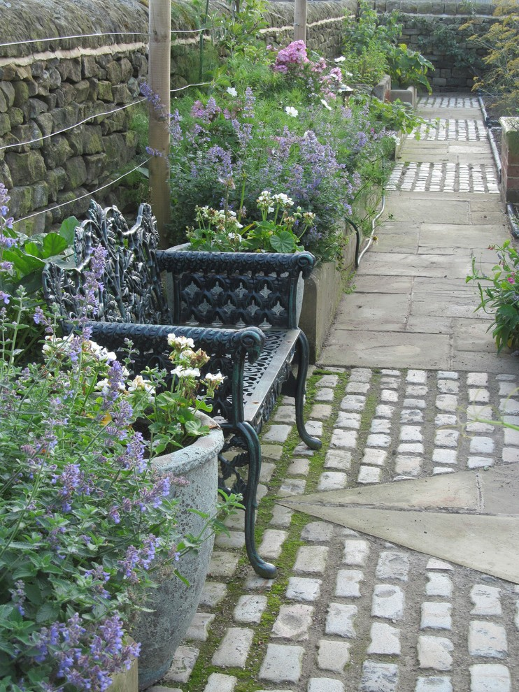 Wrought Iron Bench Landscape Traditional with Archway Cobbles Conservatory Country Dry Stone Walls