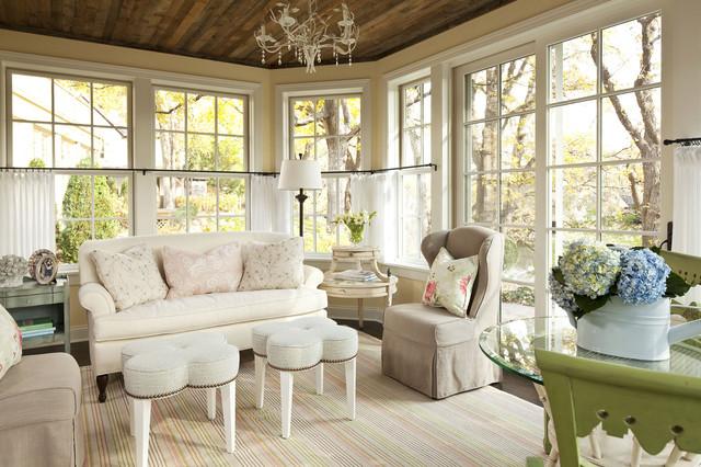 wrought iron curtain rods Family Room Shabby-chic with area rug casual ceiling chandelier clover foot stool clover