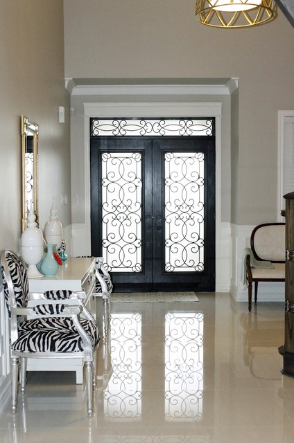 wrought iron entry doors Hall Eclectic with CEILING LIGHT French settee gold mirror silver-leaf chair Tile