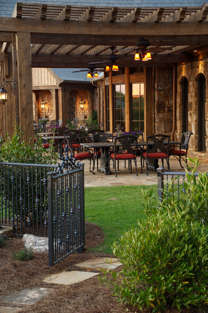 Wrought Iron Fencing Landscape Traditional with Al Fresco Black Metal Patio Furniture Hardscape Outdoor Dining