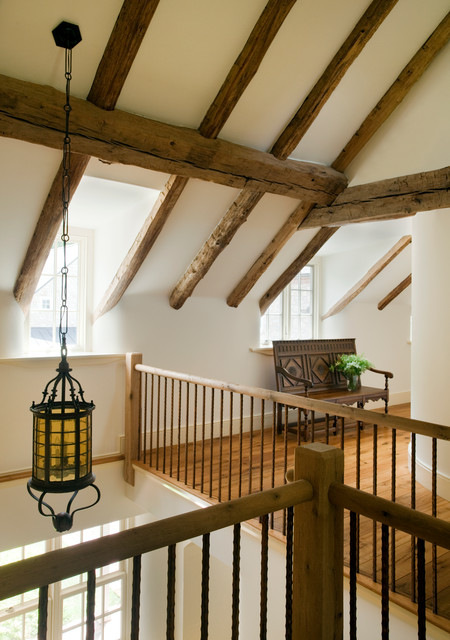 Wrought Iron Handrail Hall Farmhouse with Amber Glass Antique Beams Antique Chandelier Antique Lighting Antique