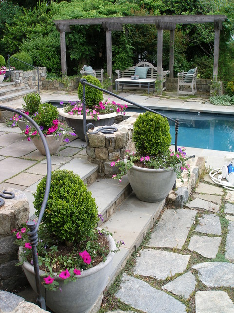Wrought Iron Handrail Patio Traditional with Bench Calm Cottage Grass Iron Railing Lattice Patio Planters