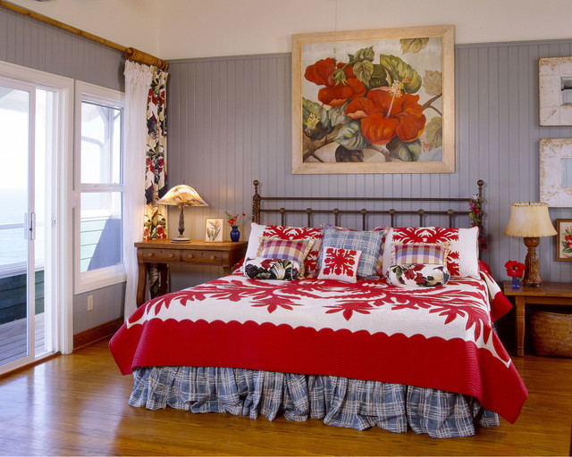 wrought iron headboard Bedroom Tropical with blue and white plaid bed skirt blue walls botanical