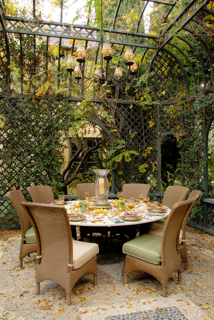 Wrought Iron Patio Chairs Patio Traditional with Canopy Dining Pavilion Hurricane Candle Holder Iron Ironwork Lattice