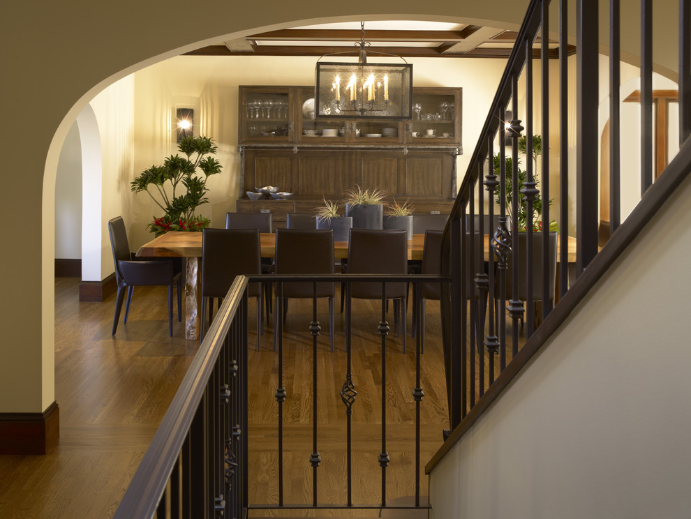 Wrought Iron Railing Dining Room Traditional with Archway Banister Baseboards Chandelier Coffered Ceiling Dining