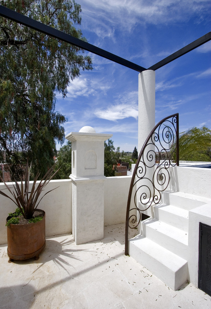 Wrought Iron Railings Patio Southwestern with Balcony Container Plants Ironwork Patio Potted Plants
