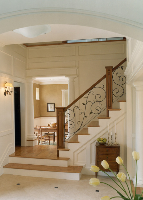 wrought iron shelf brackets staircase traditional with columns floor to ceiling wainscoting lower details