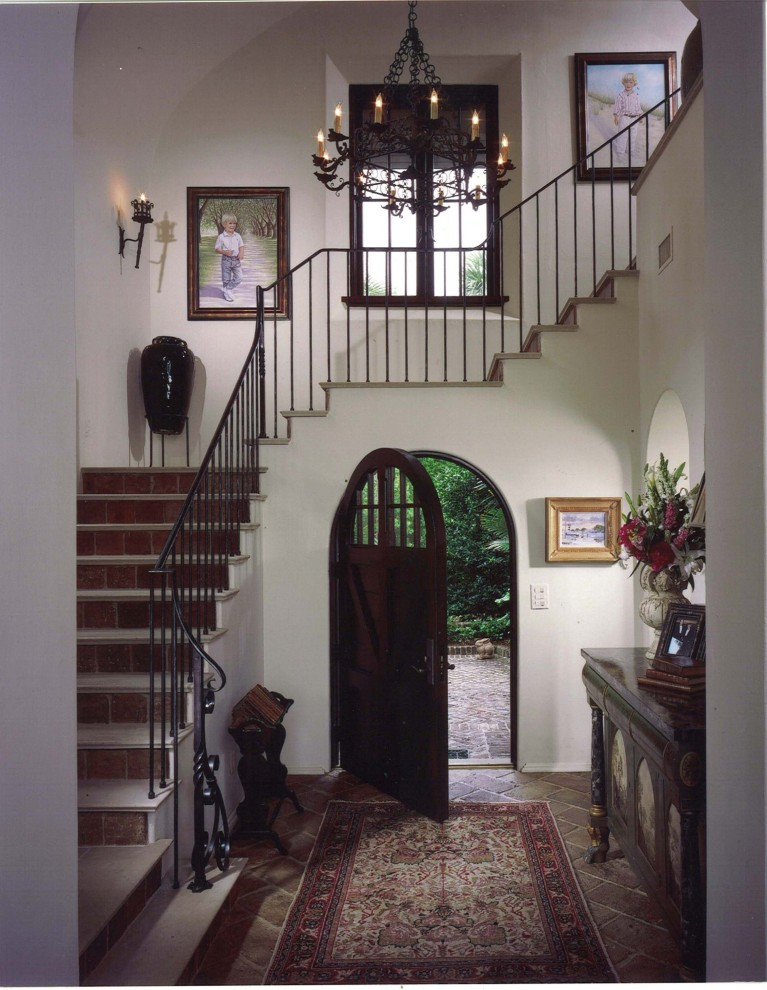 Wrought Iron Stair Railing Entry Mediterranean with Arch Art Banister Ceiling Lighting Chandelier Console