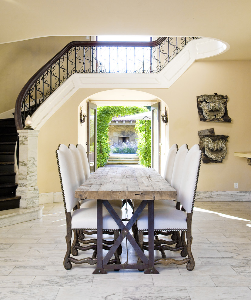 Wrought Iron Table Base Dining Room Mediterranean with Architectural Elements Brass Tacks Dining Table French