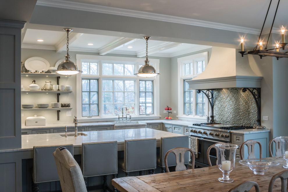 Wrought Iron Table Base Kitchen Traditional with Chandelier Farm Sink Farmhouse Sink Gray Cabinets