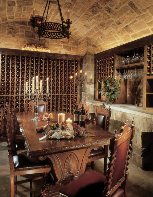 Wrought Iron Wine Racks Wine Cellar Rustic with Barrel Vault Built in Storage Candelabra Carved Wood Cave Stone